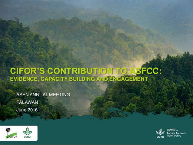 http://www.slideshare.net/CIFOR/cifors-contribution-to-asfcc-evidence-capacity-building-and-engagement