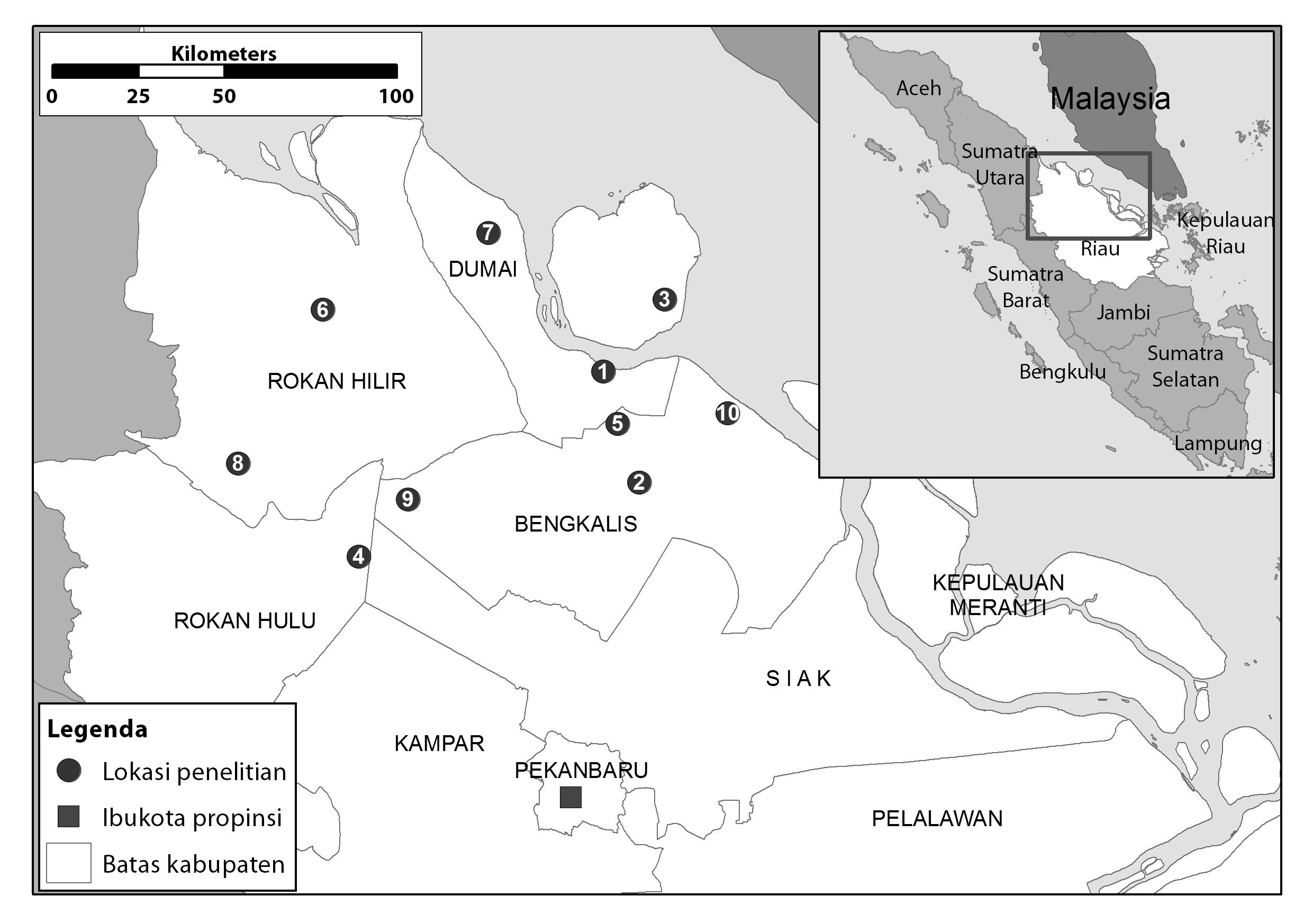 Research sites in Riau.