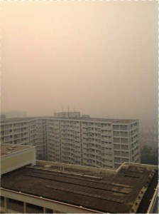 The view from my room in Singapore in June last year during the worst haze crisis since 1997-1998.