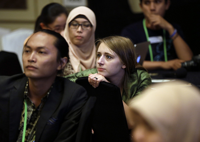 Anna Finke, an incoming student at Yale's Forestry and Environment school, attends a special session for youths during the Forests Asia Summit 2014 in the Shangri-La Hotel in Jakarta, Indonesia. Photo for Center for International Forestry Research (CIFOR).