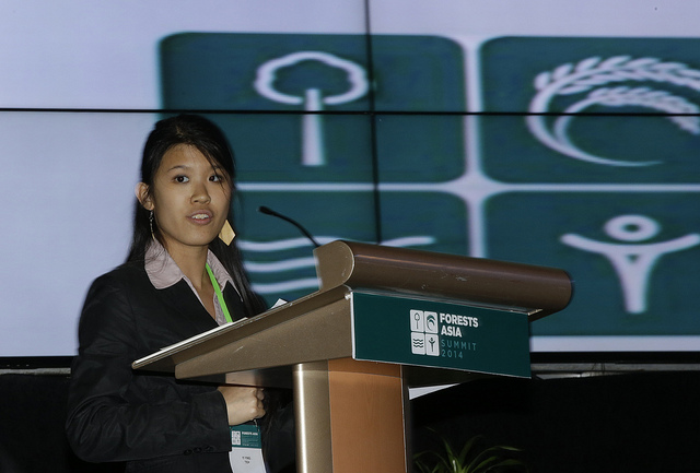 """Yi Ying Teh delivers the summary of a discussion on """"What can young people do to encourage good governance of Southeast Asia's forests? """" during a special youth session at the Forests Asia Summit 2014 in the Shangri-La Hotel, Jakarta, Indonesia."""