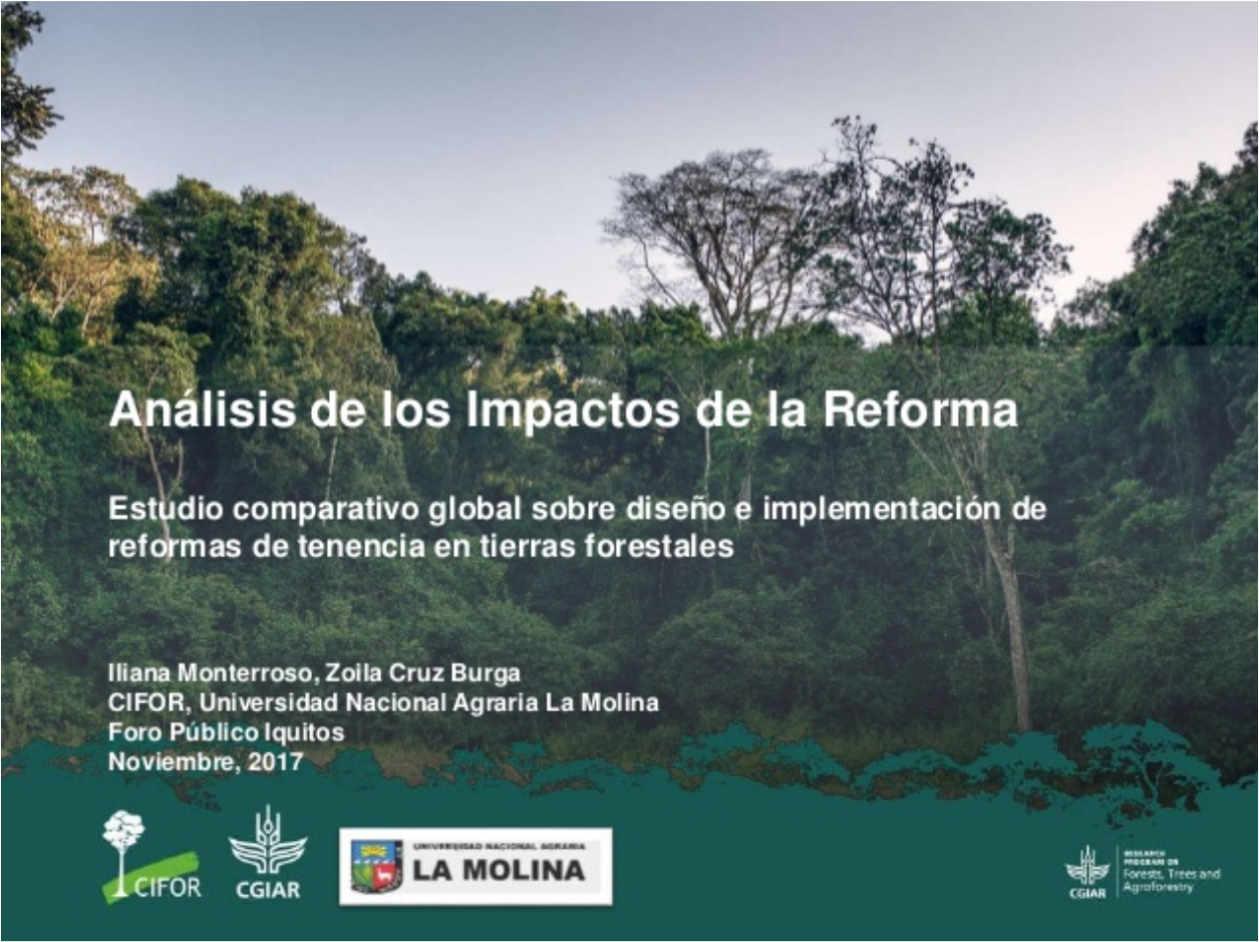 Análisis de los impactos de la reforma: Estudio comparativo global sobre diseño e implementación de reformas de tenencia en tierras forestales
