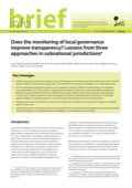 Does the monitoring of local governance improve transparency? Lessons from three approaches in subnational jurisdictions