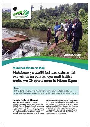 Matokeao ya utafiti kuhusu usimamizi wa misitu na vyanzo vya maji katika msitu wa Cheptais eneo la Mlima Elgon