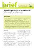 Género y la formalización de las comunidades nativas en la Amazonía peruana